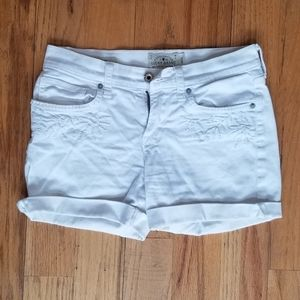 LUCKY BRAND EMBROIDERY WHITE STRETCH JEAN SHORTS